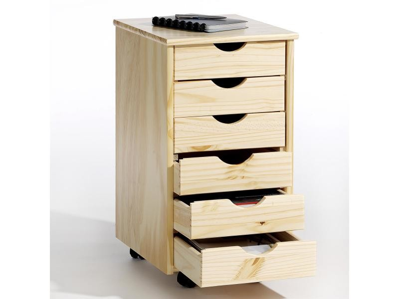 Caisson de bureau lagos meuble de rangement à roulettes avec 6 tiroirs, en pin massif vernis ...