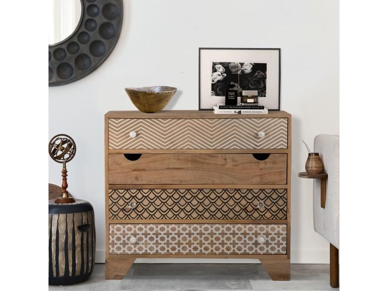 Womo-design commode naturelle, 90x80x40 cm, avec 4 tiroirs, en bois de manguier et mdf 390003211