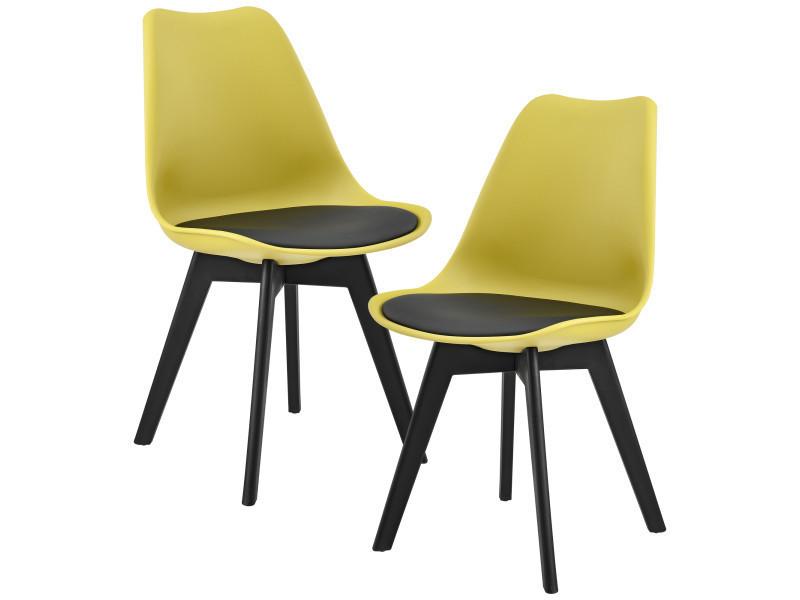 en.casa] 2 x chaise de salle à manger (couleur moutarde/noir) salle ...