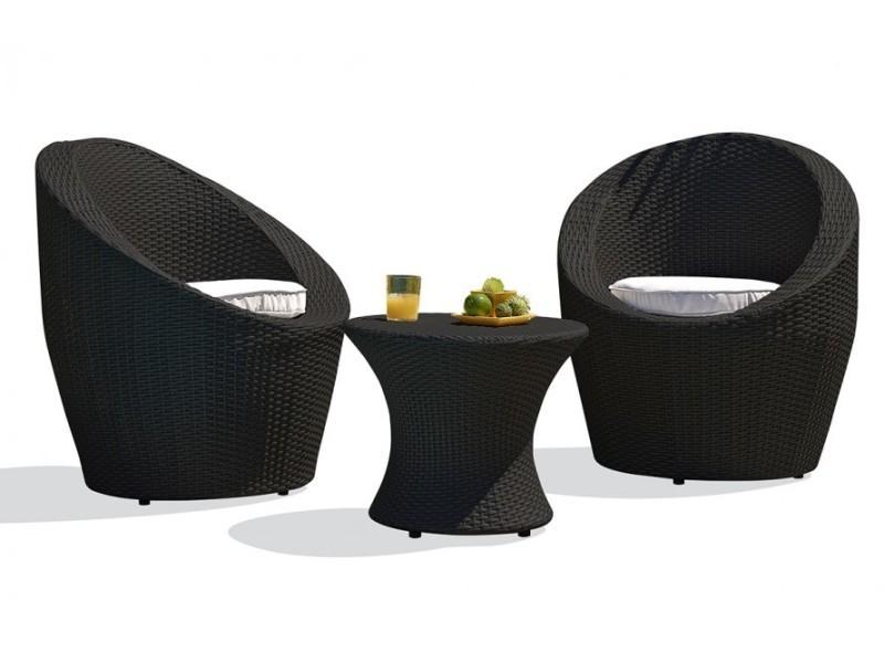 Salon de jardin 3 pièces empilables noir - Vente de DCB GARDEN ...