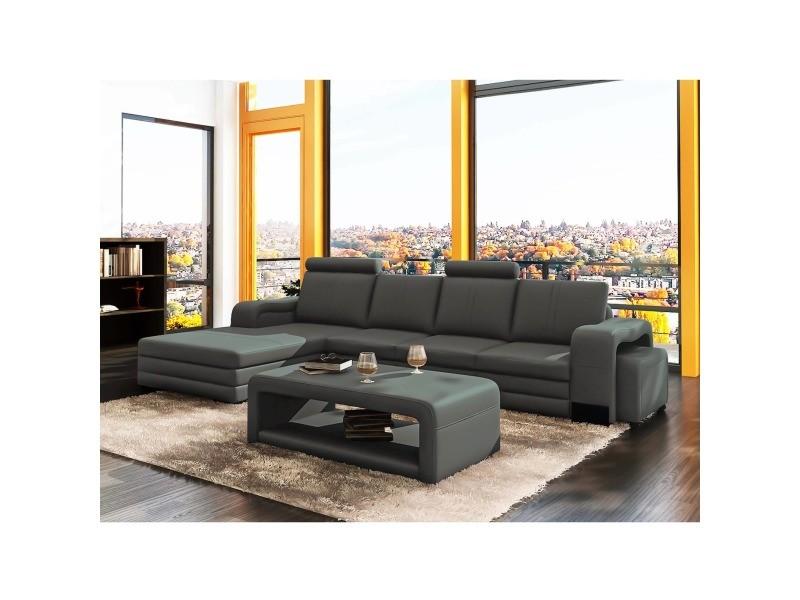 Canapé d'angle gauche méridienne gris design en cuir havane