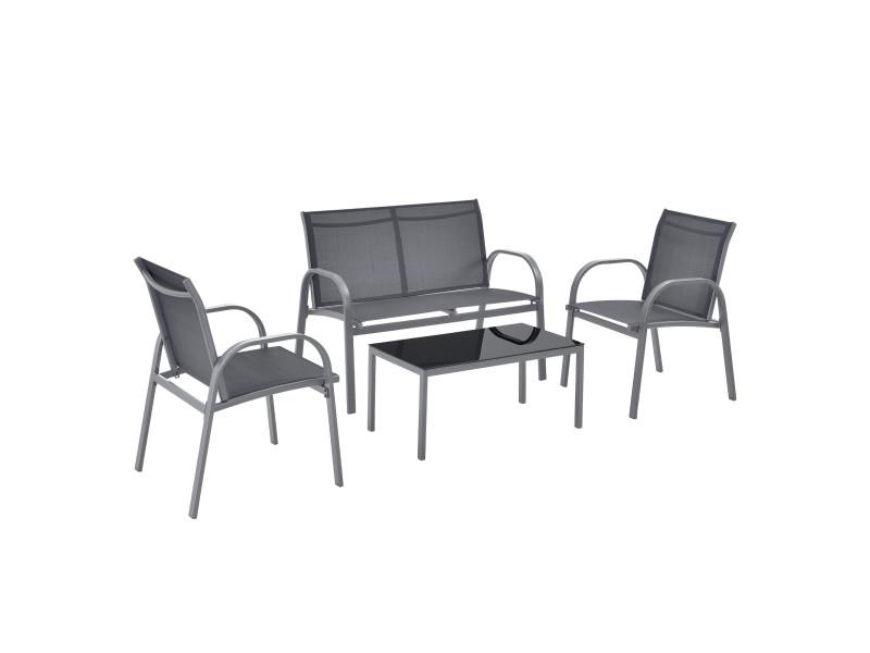 Salon de jardin design table basse plateau en verre canapé fauteuils set de 4 meubles extérieurs pour 4 personnes acier pvc polyester noir gris foncé [en.casa]