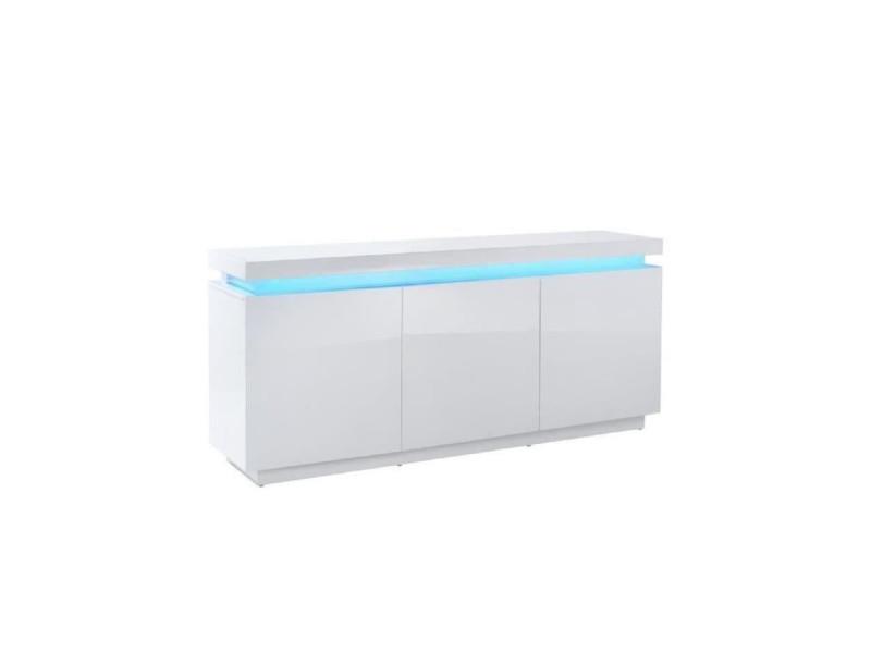 Odyssee buffet bas led contemporain blanc laqué brillant - l 170 cm ODYSSEE