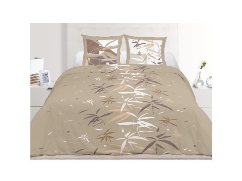 parure housse de couette 240 x 220 cm feng shui taupe conforama. Black Bedroom Furniture Sets. Home Design Ideas