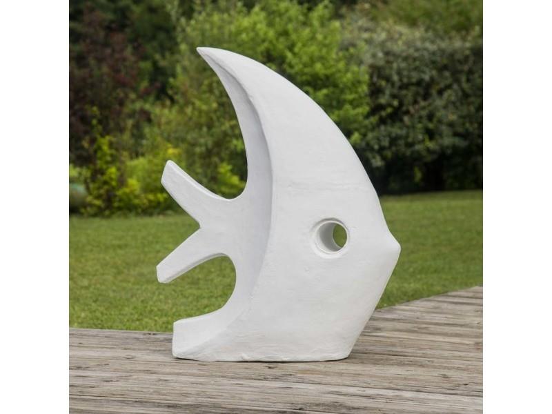 Déco jardin contemporaine poisson 78 cm blanc 21110