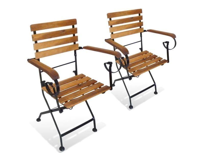 Vidaxl Chaise De Jardin Pliante Avec Accoudoirs 2 Pcs Bois D Acacia