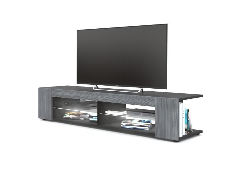 Meuble tv noir mat façades en avola-anthracite led blanc