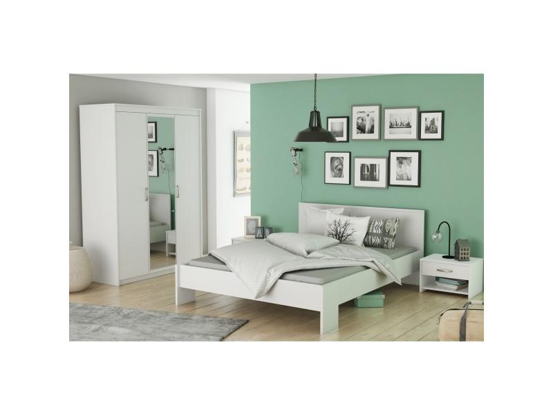Chambre adulte en bois blanc perle cb126 160x200 - Vente de TERRE DE ...
