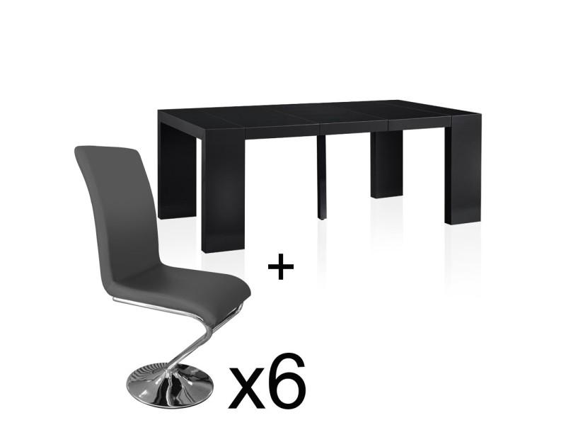 Table extensible noir laqué + 6 chaises colami gris