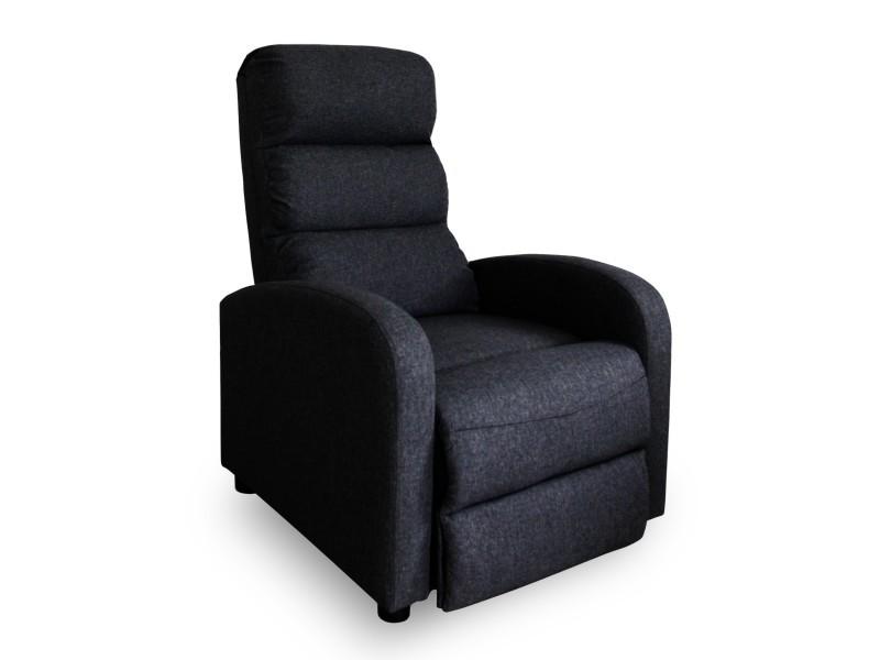 Fauteuil relax manuel lasco tissu noir