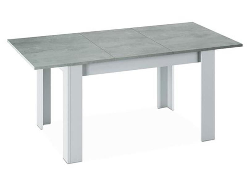 Table a manger extensible décor béton et blanc artik - 78 x 140-190 x 90 cm -pegane-