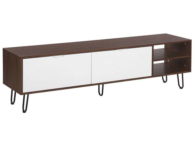 Meuble tv bois foncé avec portes blanches et étagères paxton 183834