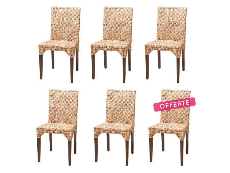 Soldes 51 lot de 6 chaises en kubu tress vitor rotin for Soldes chaises rotin