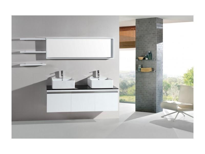 magnifique ensemble meuble salle de bain complet mercure 2 vasques 2 miroirs neree blanc vente. Black Bedroom Furniture Sets. Home Design Ideas