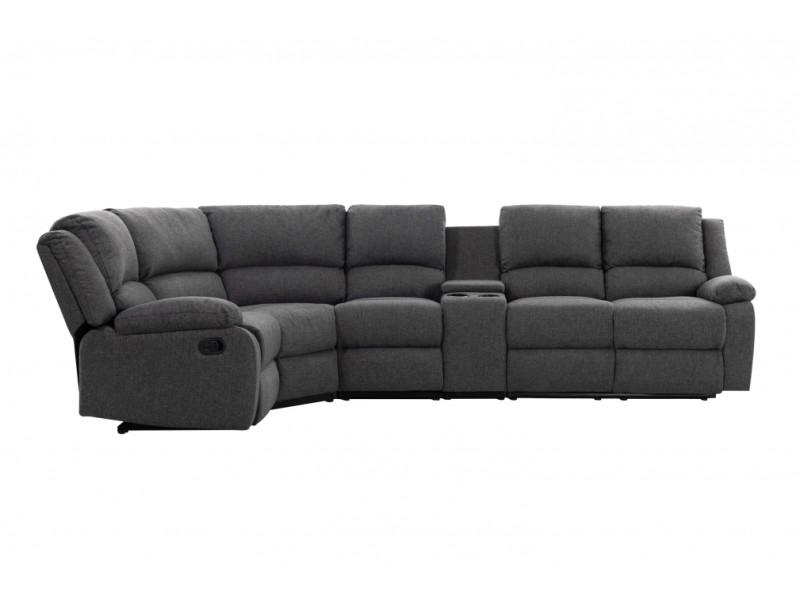 Canapé d'angle de relaxation 5 places detente en tissu gris - angle gauche 9121LSTGRF