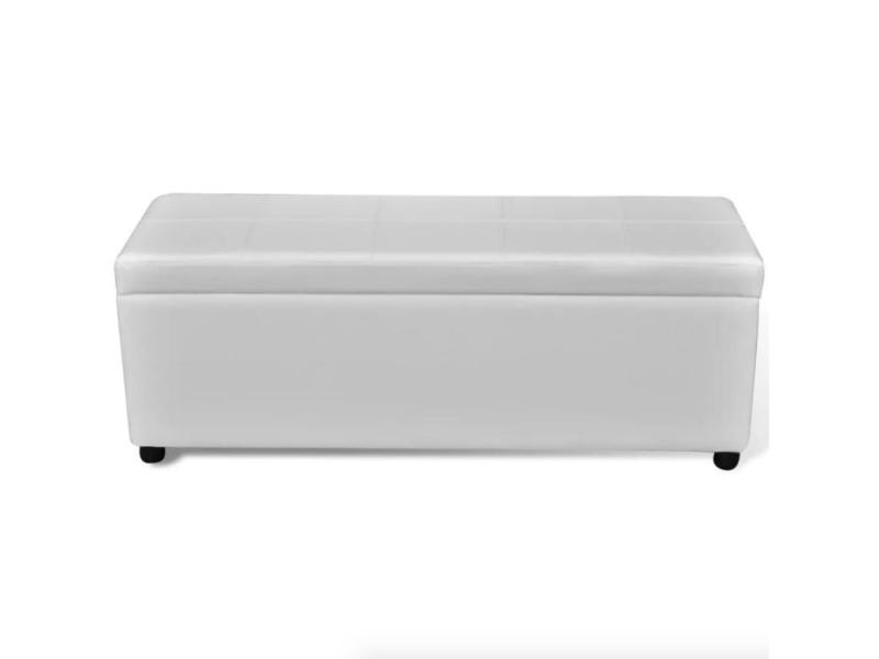 banquette banc coffre de rangement blanc 119 cm helloshop26 3002001 vente de pouf conforama. Black Bedroom Furniture Sets. Home Design Ideas