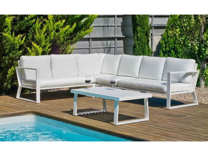 Ensemble salon sofa de jardin bolon 28 en aluminium blanc coussins couleur anais blanc, hev31864 31864