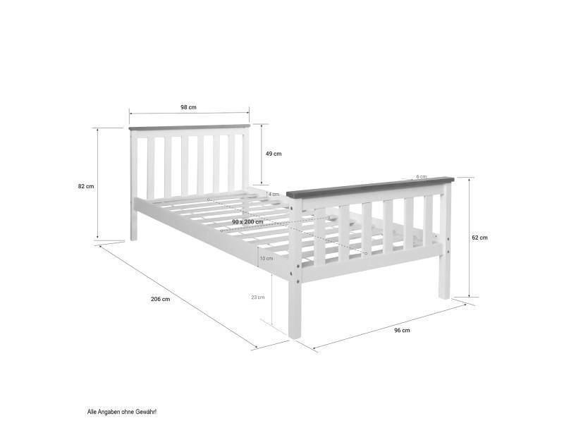 Moderne lit enfant 90 x 200 en bois blanc