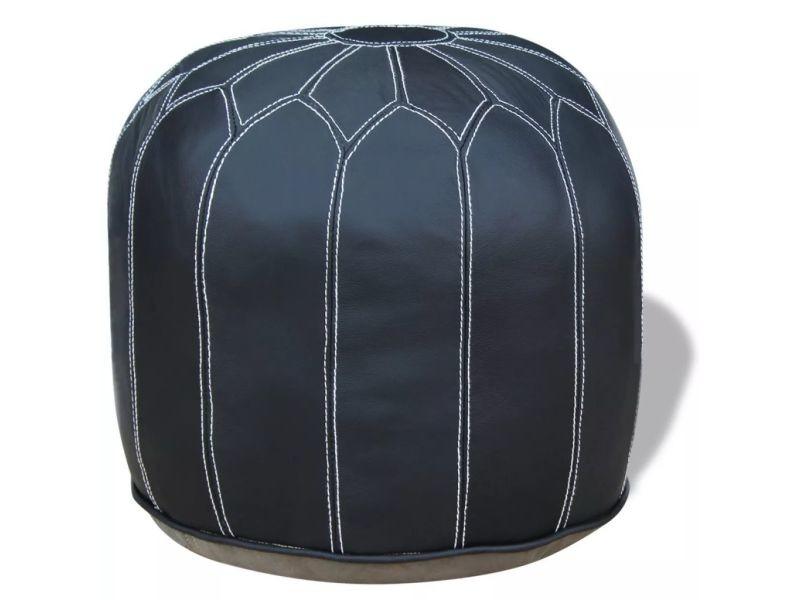 Meubles famille djibouti pouf cuir véritable rond gris 48 x 48 x 38 cm