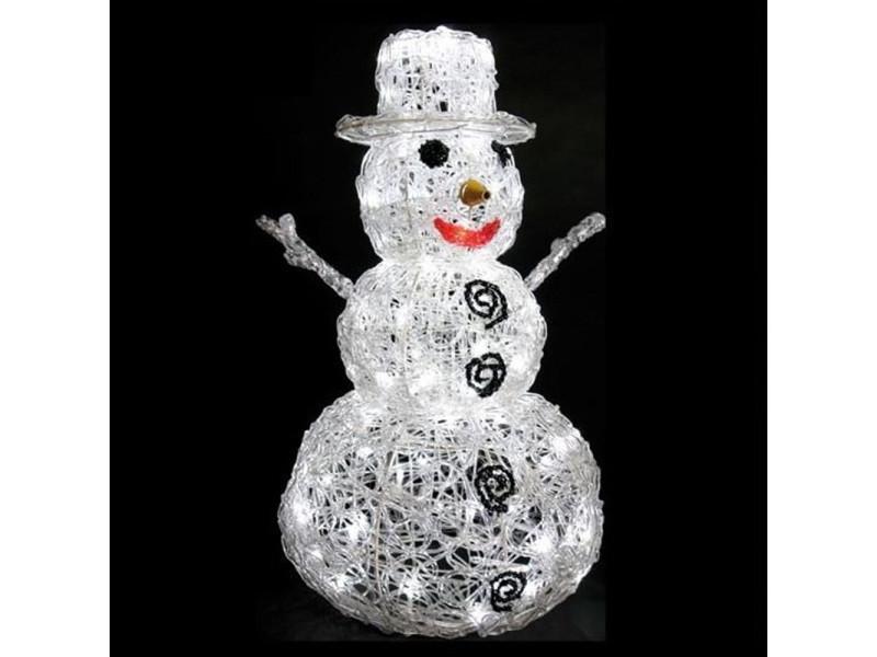Bonhomme de neige lumineux extérieur 96 led, h 65 x 40 x 40 cm -pegane-