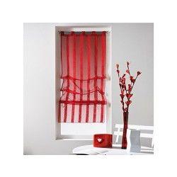 Un store droit à passant - rideau voile sable raye malta rouge 45 x 180 cm