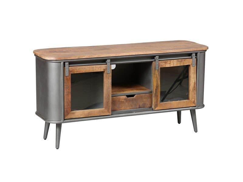 Palisso - meuble tv 2 portes bois et acier patiné
