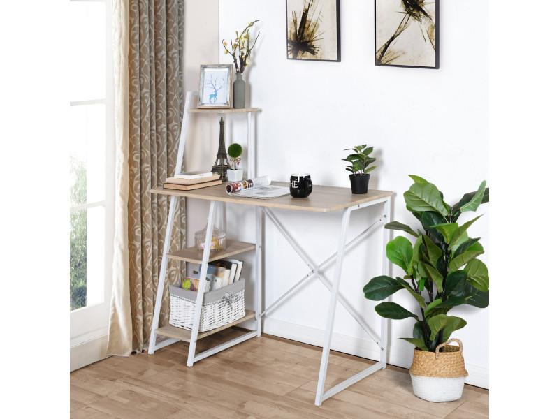 Bureau chêne étagère bois métal