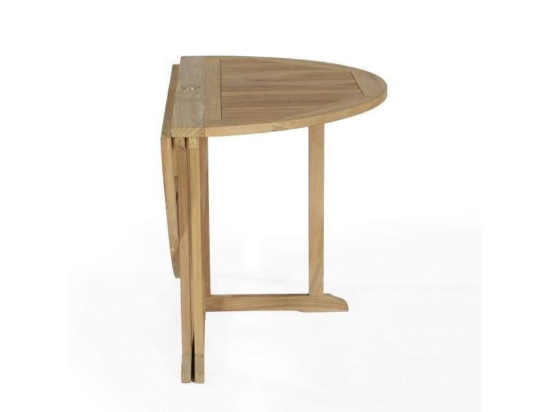 Salon de jardin en teck ecograde managua, table pliante diamètre 120 ...