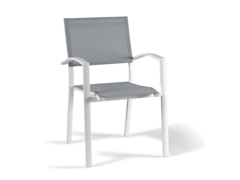 Chaise en alu blanc textilène gris clair adon