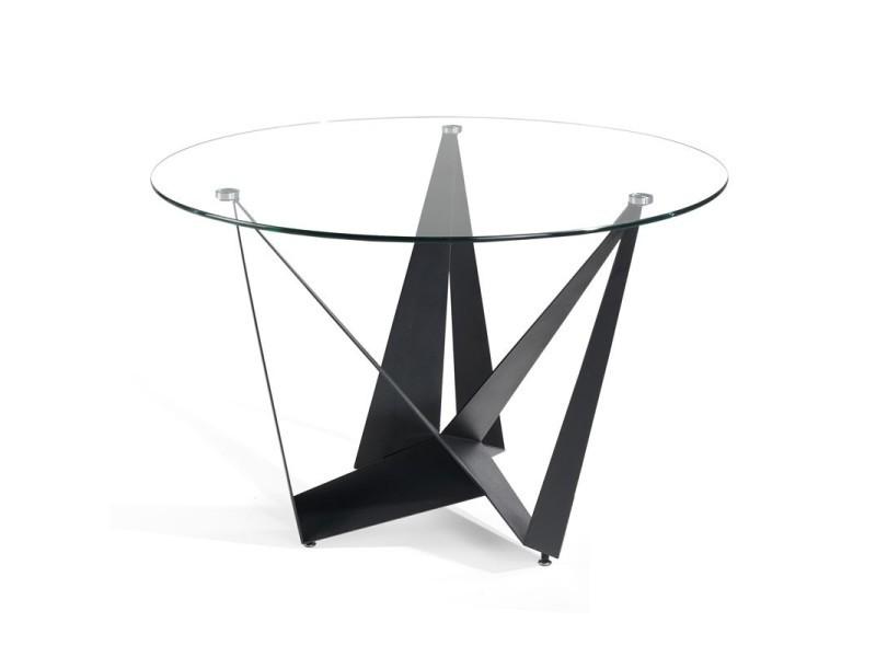 Table de repas ronde verre/noir mat - nogu - l 120 x l 120 x h 76 - neuf