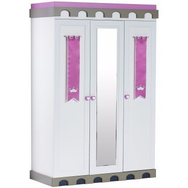 Armoire pour enfant 139 cm avec 3 portes + miroir design château ...