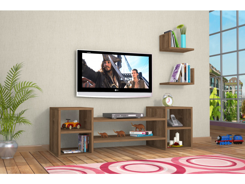 Meuble tv design zeo motif bois noyer marron clair