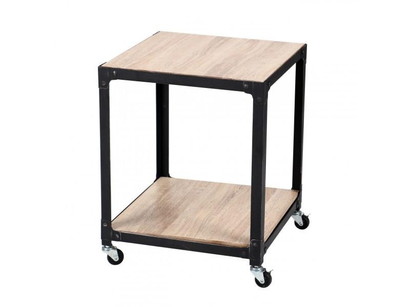 Table d'appoint carrée en bois et métal sur roulettes