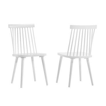 Duhome lot de 2 chaises à barreaux en bois teinté blanc type