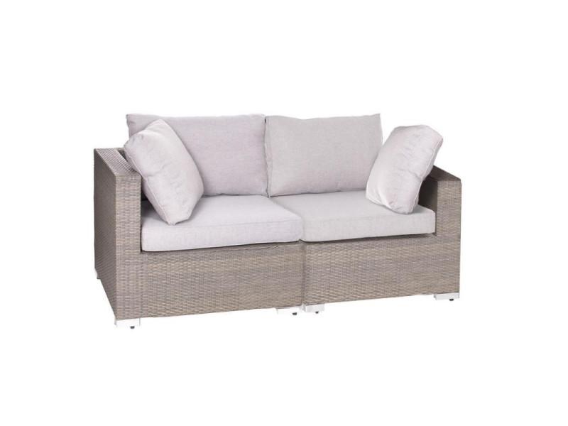 Canapé d\'extérieur 2 places rotin taupe - baros - l 172 x l 86 x h ...