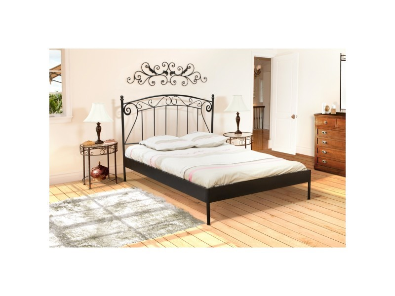 lit 2 personnes 160x200 cm romance noir avec sommier vente de sommier et cadre lattes. Black Bedroom Furniture Sets. Home Design Ideas