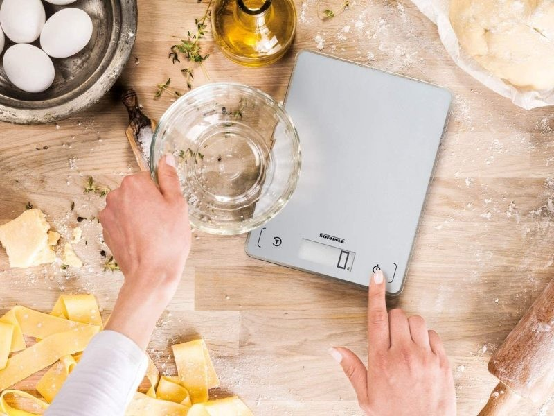 Balance de cuisine électronique avec fonction tare jusqu'à 5 kg argent