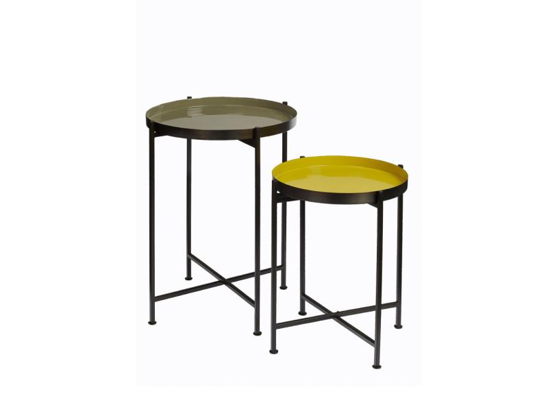 Favorit' - 2 tables d'appoint plateau amovible - couleur - noir 29031-DBR