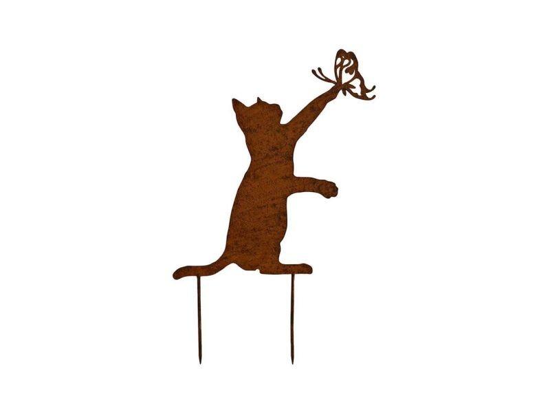 Statue de jardin silhouette chaton sur pique