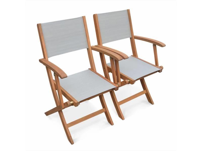 Lot de 2 fauteuils de jardin en bois almeria, 2 fauteuils pliants eucalyptus fsc huilé et textilène gris taupe
