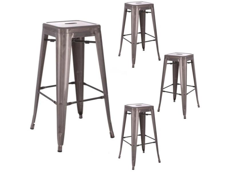 Quatuor de tabourets de bar métal argent - vassia - l 42 x l 42 x h 61.2 - neuf