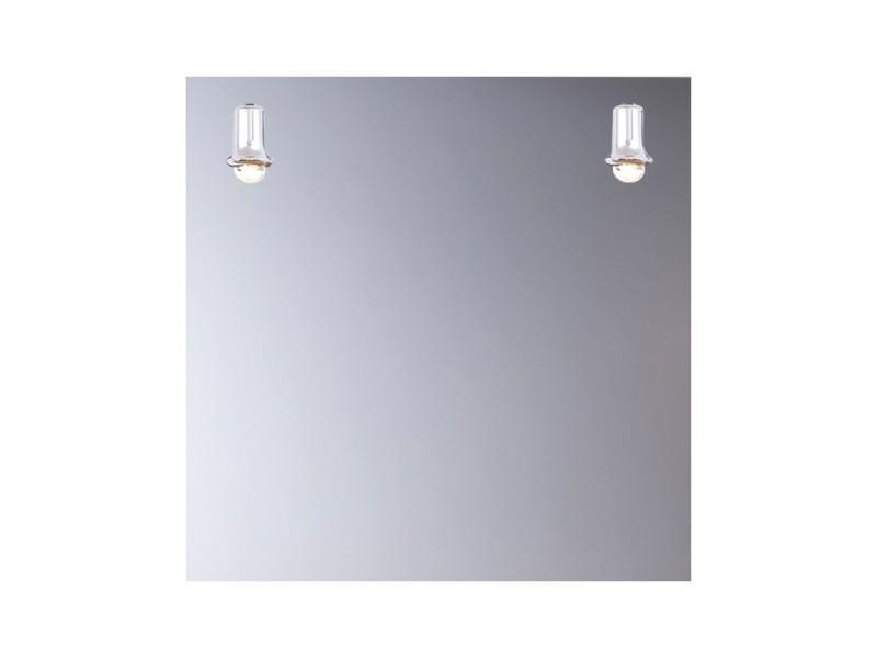 Miroir de salle de bains avec éclairage fluo-compacte - modèle carré - 65 cm x 65 cm (hxl)