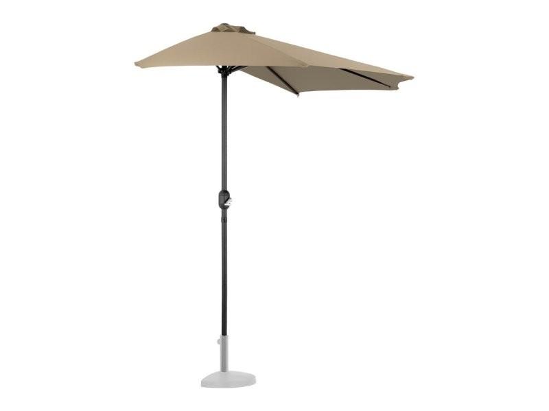 Demi parasol de jardin meuble abri terrasse pentagonal 270 x 135 cm taupe helloshop26 14_0001342