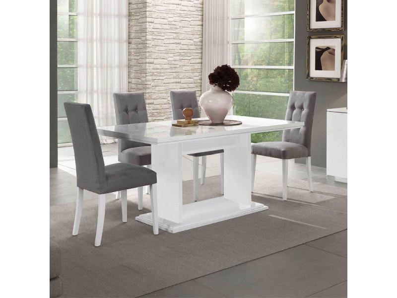 Table de repas rectangulaire laqué blanc - potiri - l 160 x l 90 x h 77 cm