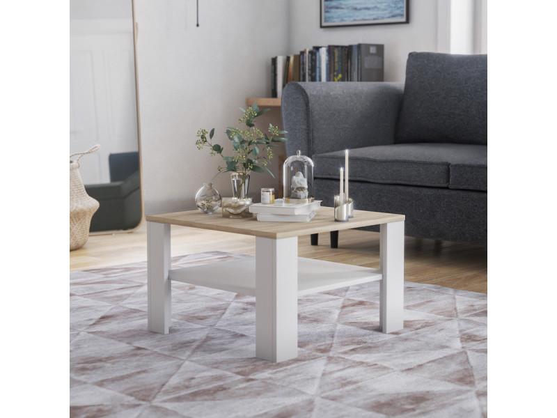 Table basse - crozier - 68x68 cm - chêne sonoma / blanc - style scandinave