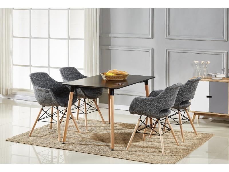 Table noire & 4 chaises gris foncé en tissu olivia - Vente ...