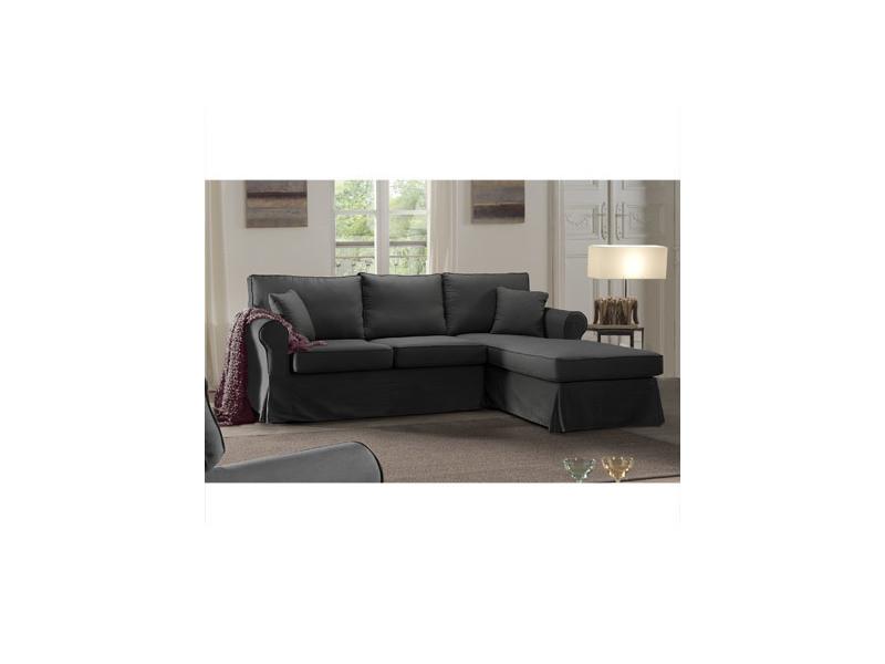 Canapé d'angle à droite fixe en tissu gris - jaipur