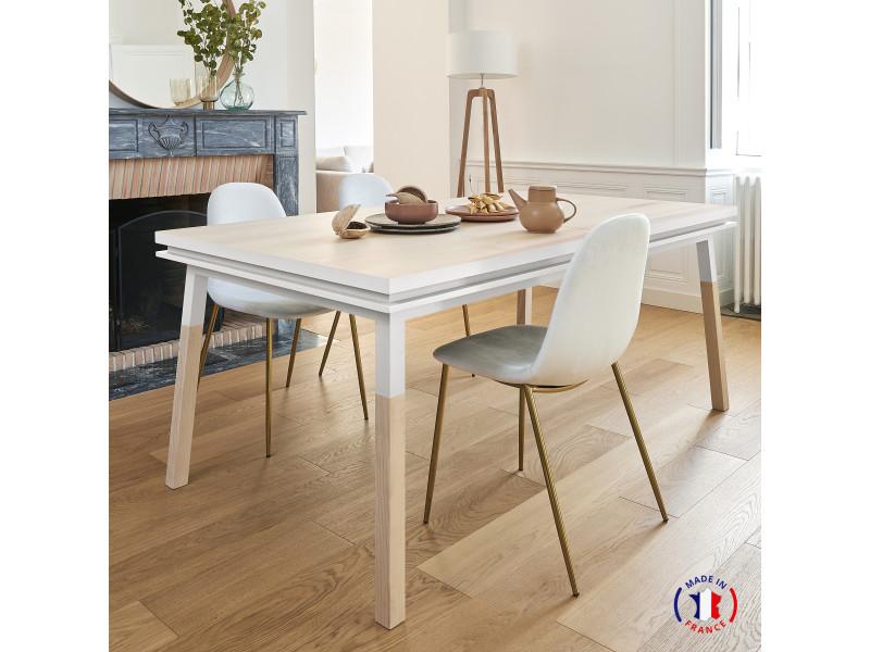 Table extensible bois massif 160x100 cm blanc balisson - 100% fabrication française