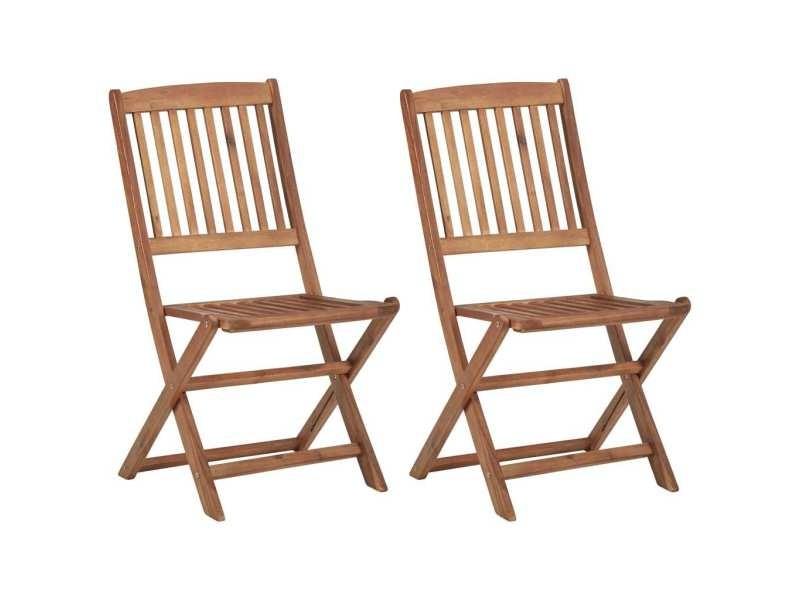Stylé sièges de jardin famille amsterdam chaises pliables d'extérieur 2 pcs bois d'acacia solide