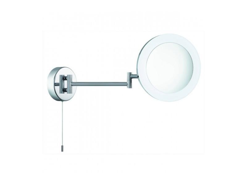 Miroir grossissant lumineux, chrome et verre miroir, led